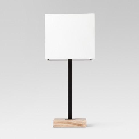 Wood Square Base Table Lamp Black, Square Wood Table Lamp Base