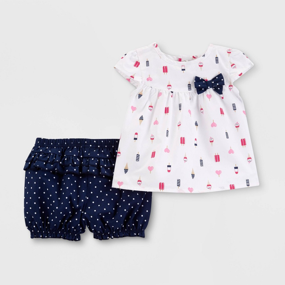 Baby Girls' Popsicle Top and Bottom Set - Just One You made by carter's White 9M
