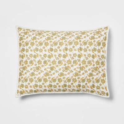 Pick Stitch Floral Quilt Sham Green/Yellow - Threshold™