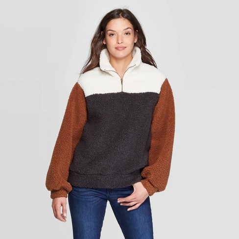 Women's Long Sleeve Quarter Zip-Up Sherpa Sweatshirt - Universal Thread™ Brown - image 1 of 3