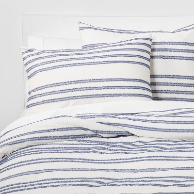Full/Queen Eyelash Stripe Comforter Set Blue - Threshold™
