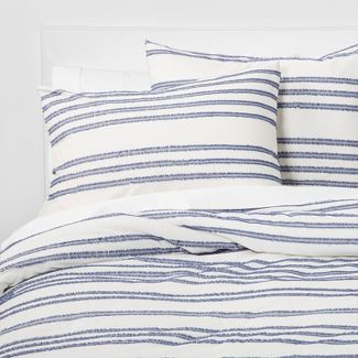 King Eyelash Stripe Comforter Set Blue - Threshold™