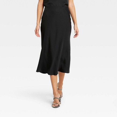 Women S High Rise Midi Slip A Line Skirt A New Day Black S