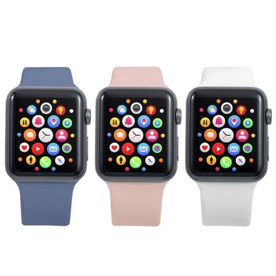 Insten 3-Pack Soft TPU Rubber Replacement Band for Apple Watch 42mm 44mm All Series SE 6 5 4 3 2 1 (Lavender Gray/Pink Sand/White)