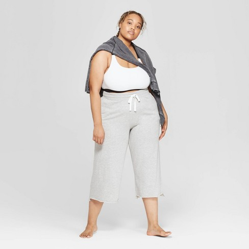 Women's Plus Size Cropped Wide Leg Lounge Pants - Colsie™ Gray - image 1 of 3