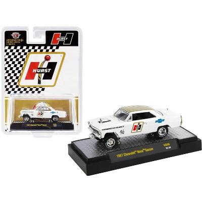 "1967 Chevrolet Nova Gasser ""Hurst"" Pearl White w/Gold Stripes Limited Edition to 7150 pcs 1/64 Diecast Model Car by M2 Machines"
