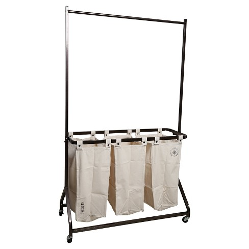 American Vintage™ Garment Rack with Laundry Sorter - Cream Canvas - image 1 of 1