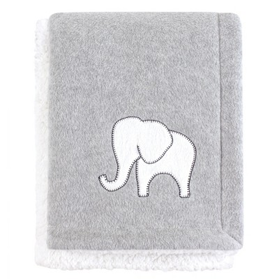 Hudson Baby Infant Plush Blanket with Sherpa Back, Gray Elephant, One Size