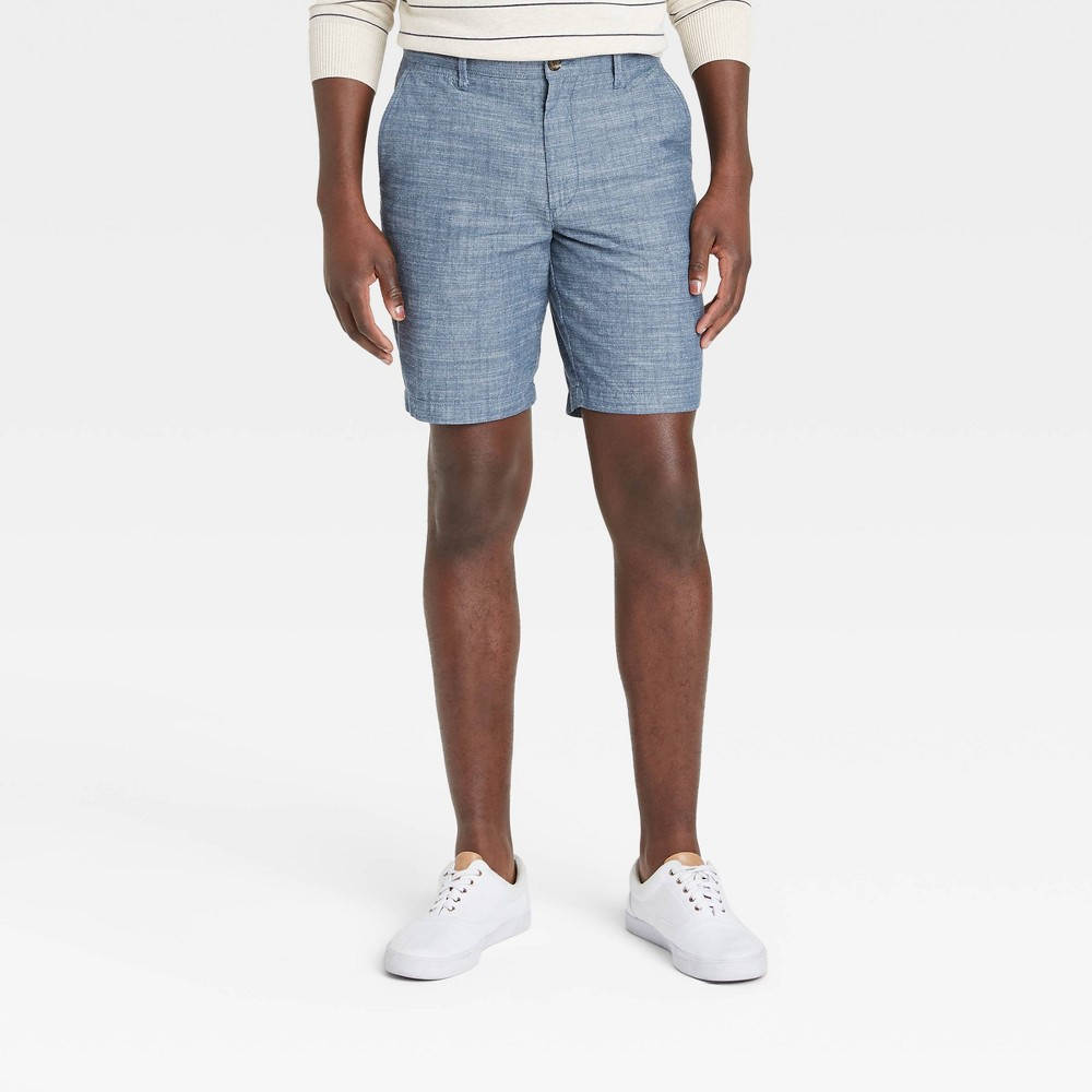 Men 39 S 9 34 Slim Fit Chino Shorts Goodfellow 38 Co 8482 Chambray Blue 36