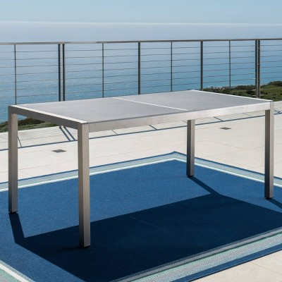 Cape Coral Rectangle Aluminum Dining Table - Silver/Gray - Christopher Knight Home