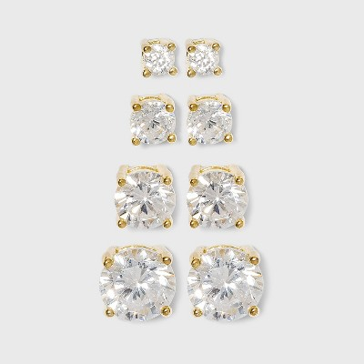 Cubic Zirconia Round Stud Earrings with 14k Gold Plating in Sterling Silver Earring Set 4pc - Gold
