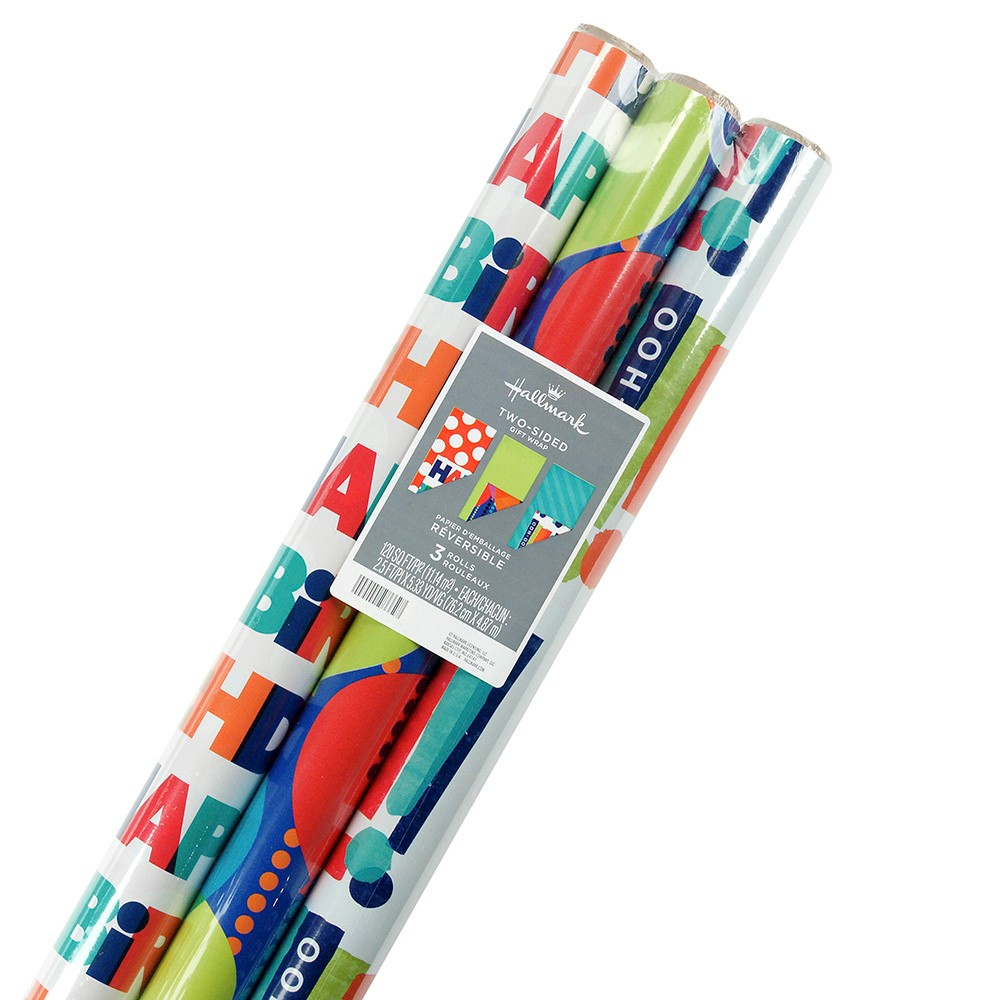 Image of 3ct Reversible Birthday Wrapping Paper