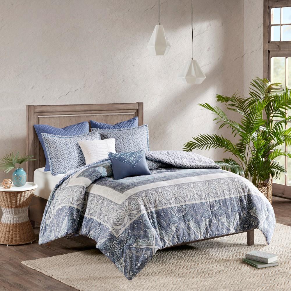Blue Emily Reversible Cotton Duvet Cover Set Full Queen 7pc