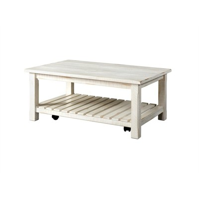 Barn Door Solid Wood Coffee Table Antique White - Martin Svensson Home