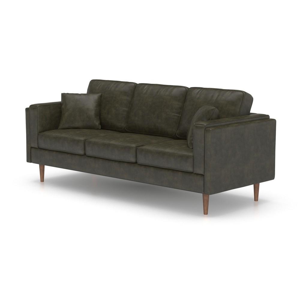 Logan Modern Faux Leather Sofa Vintage Gray - AF Lifestyle