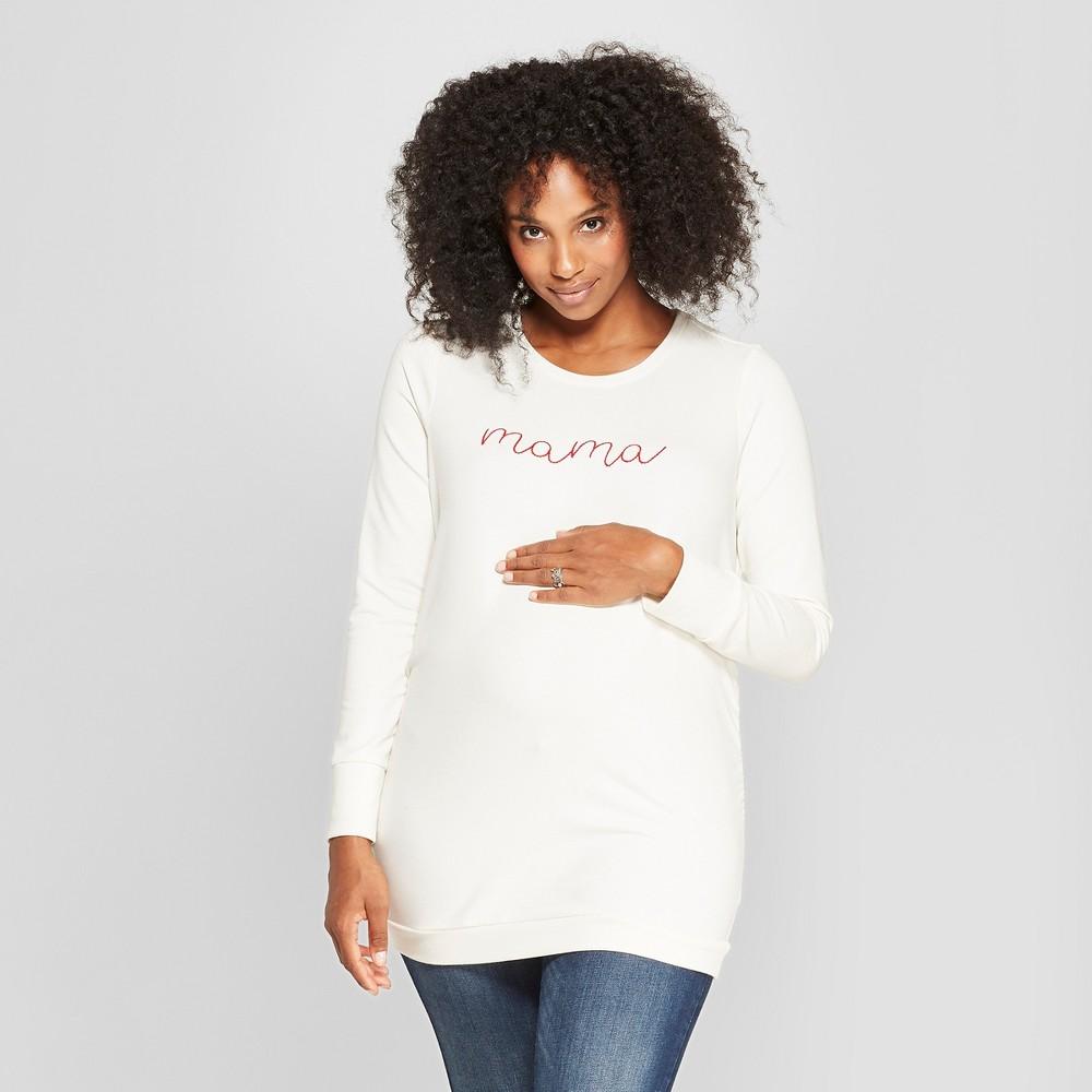 Maternity Embroidered Sweatshirt - Isabel Maternity by Ingrid & Isabel Cream M, Women's, White