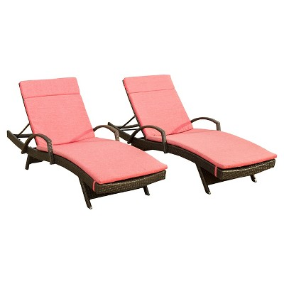 Salem Set of 2 Brown Wicker Adjustable Chaise Lounge with Arms - Red - Christopher Knight Home