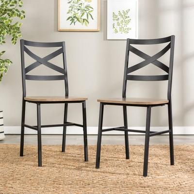 Metal X - Back Dining Chair (Set of 2)- Driftwood - Saracina Home