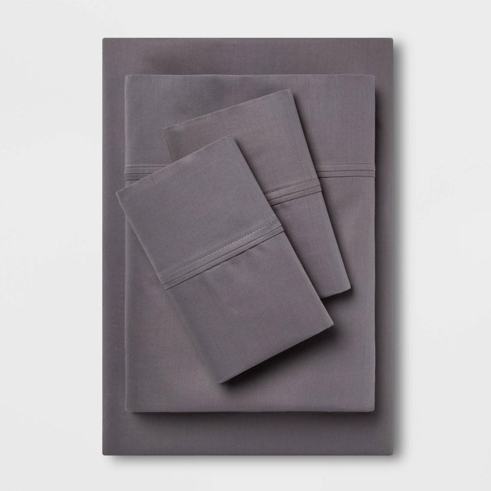 Full 400 Thread Count Solid Performance Sheet Set Dark Gray Threshold 8482