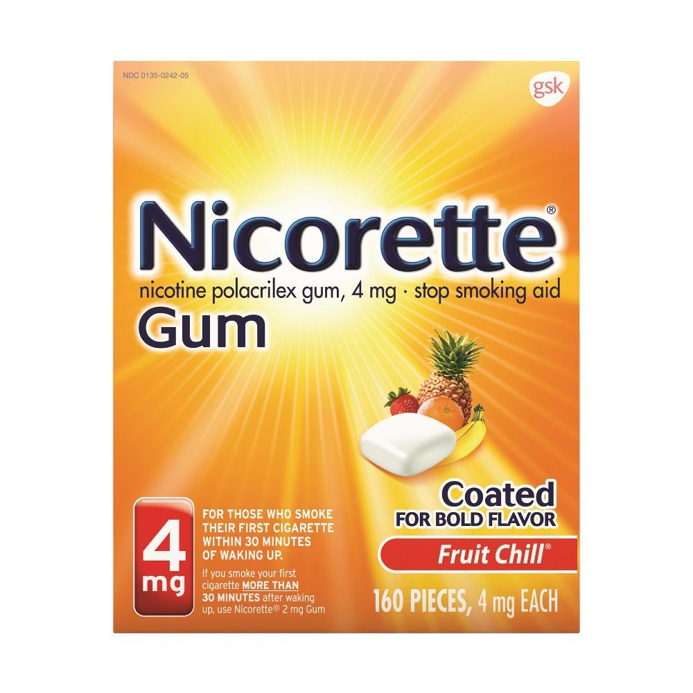 Nicorette 4mg Stop Smoking Aid Nicotine Gum - Fruit Chill - 160ct