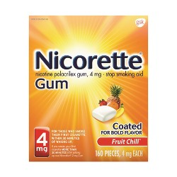 Nicorette 4mg Stop Smoking Aid Nicotine Gum - Fruit Chill - 160ct
