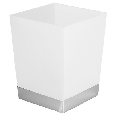 Square Bathroom Wastebasket Frost/Chrome - InterDesign®