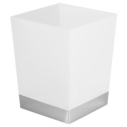 Square Bathroom Wastebasket Frost/Chrome - iDESIGN - image 1 of 2