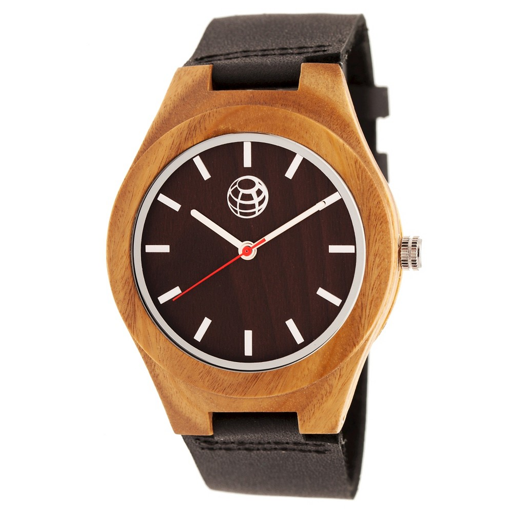 Image of Earth Wood Aztec Men's Leather-Band watch - Dark Brown/Black, Size: Small