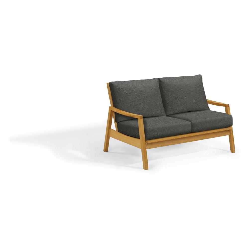 Siena Loveseat with Polyester Cushion Heather Black - Oxford Garden