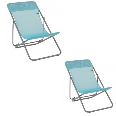 Lafuma Maxi Transat 4 Position Recline, Lockable Angle Folding Outdoor Camping Steel Batyline Mesh Sling Lounge Chair, Lac Blue (2 Pack)