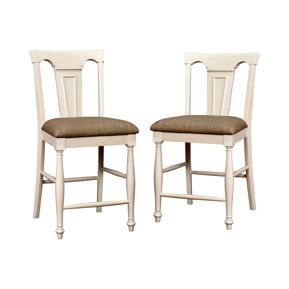 Set of 2 Martha Country Counter Height Chair Off‰ White/Cherry - Sun & Pine