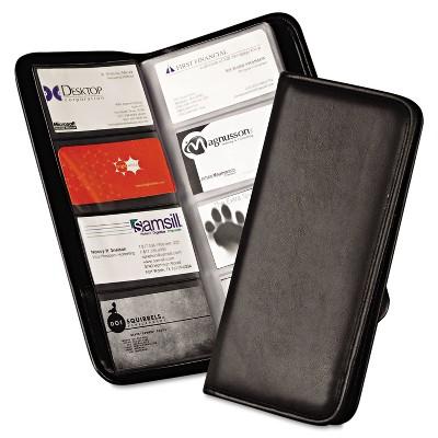 Samsill Professional Vinyl Business Card File 160 Card Cap 2 x 3 1/2 Cards Black 80850