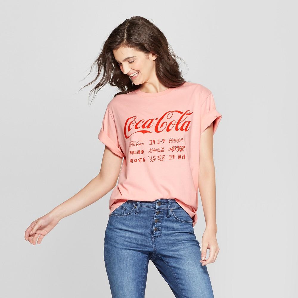 Women's Coca-Cola Short Sleeve Boyfriend Graphic T-Shirt (Juniors') Blush S, Pink