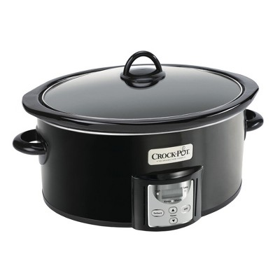 Crock-Pot 4 2091290 Quart Capacity Intelligent Count Down Timer Slow Cooker Small Kitchen Appliance, Black
