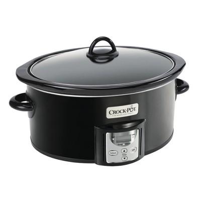 Crock-Pot 4 2091290 Quart Capacity Intelligent Count Down Timer Slow Cooker Small Kitchen Appliance, Black