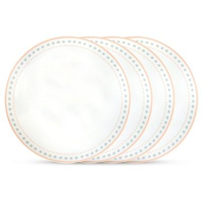 Cheeky® Ojai Coupe Porcelain Dinner Plates Gray & Peach - 10.5 x10.5  Set of 4