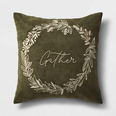 Square Gather Velvet Throw Pillow Green - Threshold™