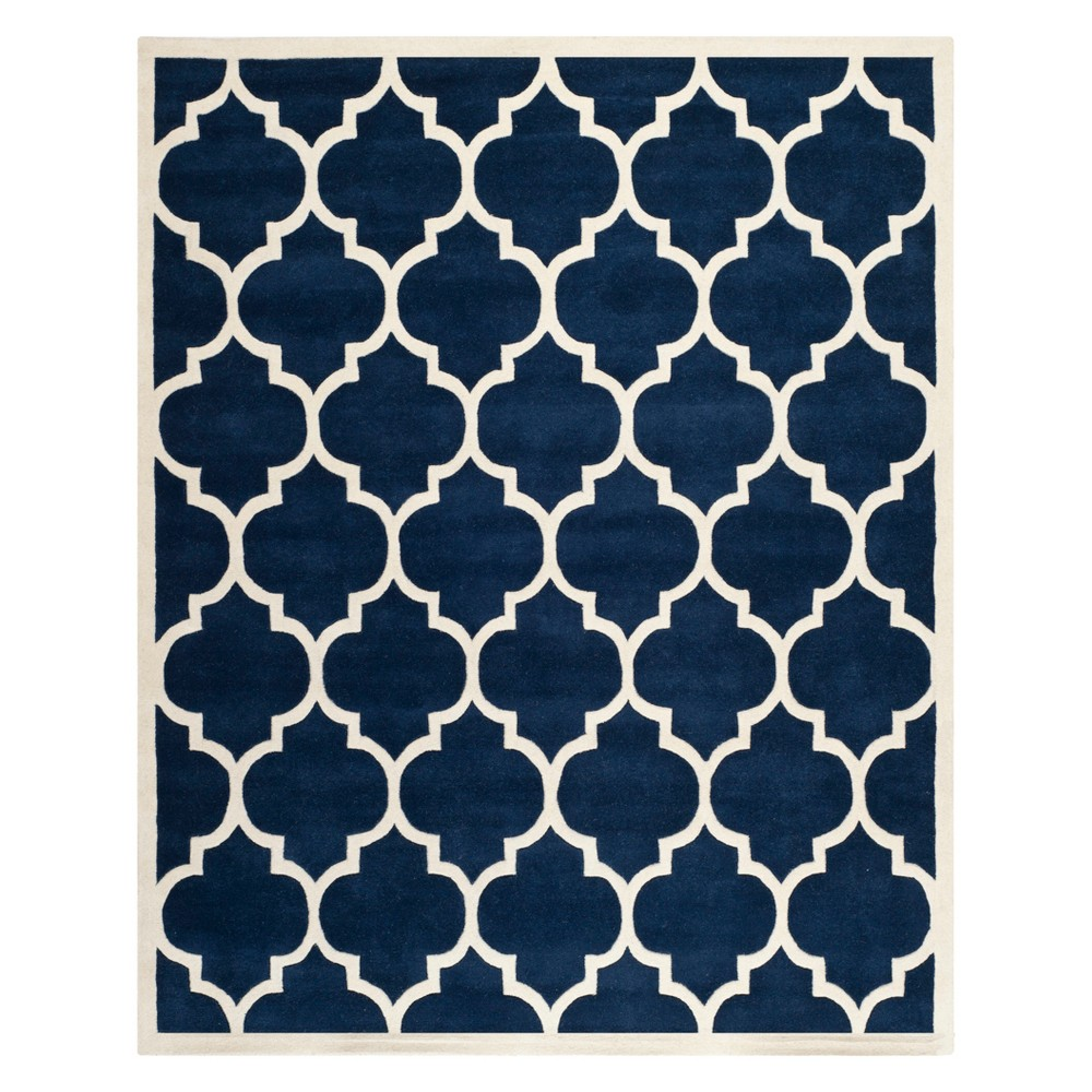 Quatrefoil Design Tufted Area Rug Dark Blue/Ivory