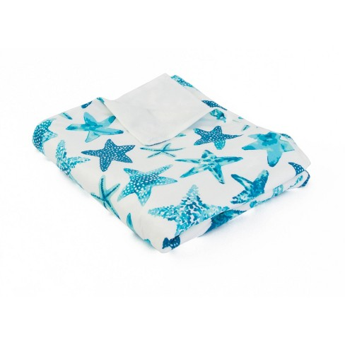 """Dcor Therapy 50""""x60"""" Starfish Micromink Throw Blanket White/Blue - image 1 of 3"""