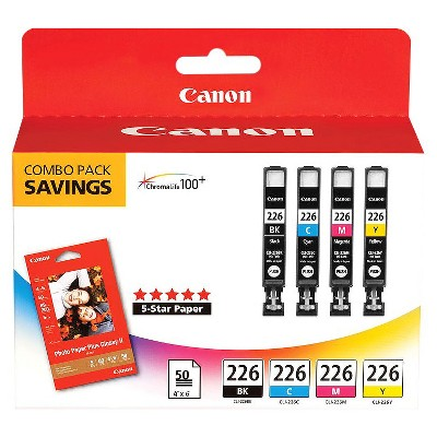 Canon 225/226 2pk & 4pk Ink Cartridges - Black, Multicolor