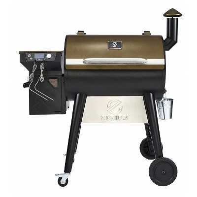 Z GRILLS ZPG-7002F 8 in 1 Wood Pellet Portable Grill Smoker for Outdoor BBQ Cooking with Digital Temperature Control and Grill Cover, Bronze