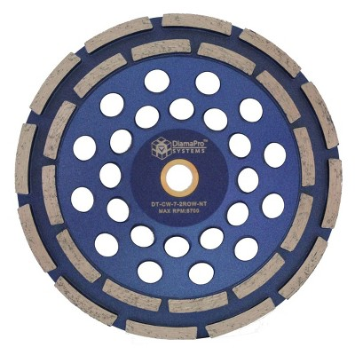 DiamaPro Systems DT-CW-7-2ROW-NT Non Threaded 7 Inch Double Row Diamond Abrasive Concrete Grinding Cup Wheel for Drains, Preparation, Coating Removal
