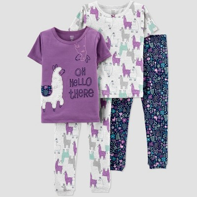 Toddler Girls' 4pc Llama Snug Fit Pajama Set - Just One You® made by carter's Purple