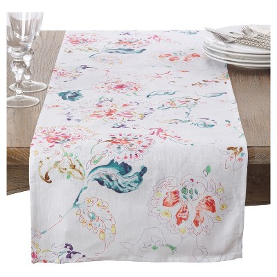 "White Primavera Printed Floral Design Table Runner (16""x72"")- Saro Lifestyle"