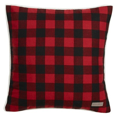 """20""""x20"""" Oversize Cabin Plaid Flannel Sherpa Square Throw Pillow Red - Eddie Bauer"""