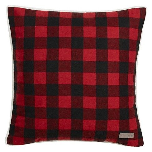 "Cabin Plaid Flannel Sherpa Throw Pillow Red (20 X 20"") - Eddie Bauer - image 1 of 2"