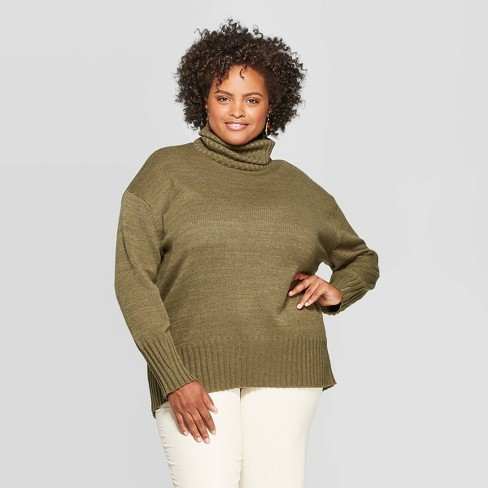 Women's Plus Size Long Sleeve Turtleneck Tunic Sweater - A New Day™ - image 1 of 3