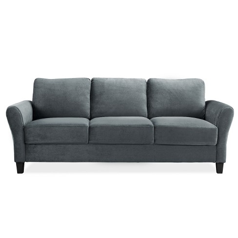 Winchester Microfiber Sofa With Rolled Arms Gray Lifestyle Solutions Target