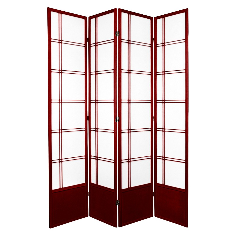 7 ft. Tall Double Cross Shoji Screen - Rosewood (4 Panels), Red