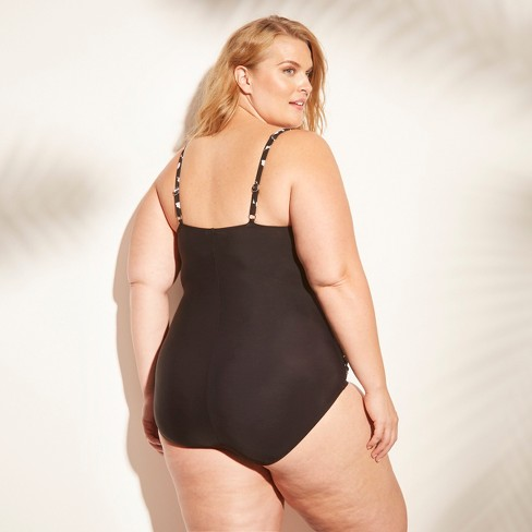 4eb77ce5a1 Women s Plus Size Shirred One Piece Swimsuit - Aqua Green®   Target